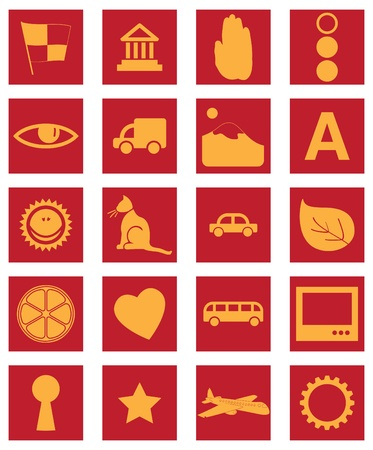 red and gold icons and signs Vector
