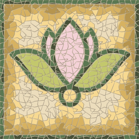 mural: cracked antique mosaic panel with lily Illustration