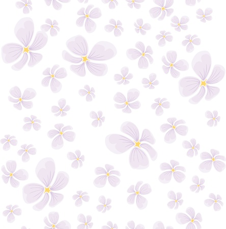 jointless: seamless background with flying pink flowers Illustration