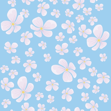 continued: seamless background with flying pink flowers and blue backdrop