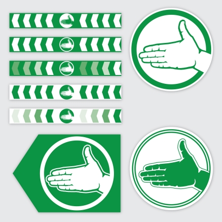 targeting: targeting ribbon, flag and sticker with palm sign in red