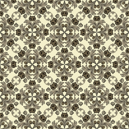 jointless: medieval styled decorative pattern with floral elements