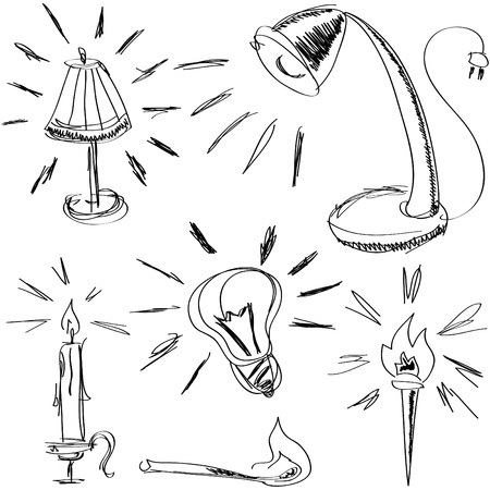 some handmade sketches of lighting devices for web-design, high quality print and other creative works Vector