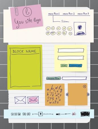 Sticky Papier und Folien für Web-Design, hochwertige Druck-und alle anderen kreativen Arbeiten. alle Objekte hat editierbare Farben, Effekte, Größen. handmade Buchstaben gesetzt sind Illustration