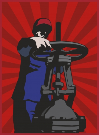 poster style oil man with red sunrise background.