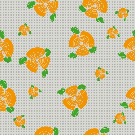 continued: traditional handmade folk seamless floral background with orange roses for textile design,  and high quality print Illustration