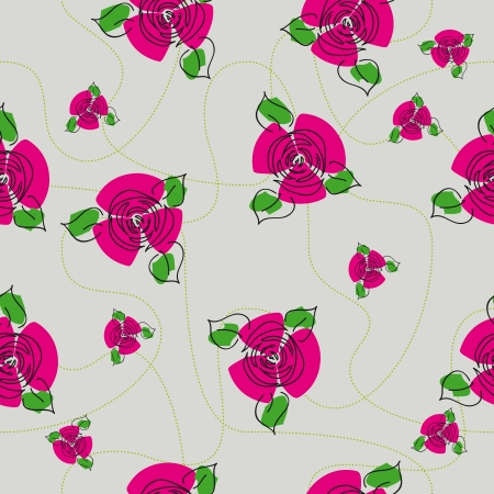 continued: traditional handmade folk seamless floral background with red roses for textile design,  and high quality print
