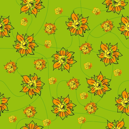 craze: traditional handmade folk seamless floral background with orange flowers for textile design,  and high quality print