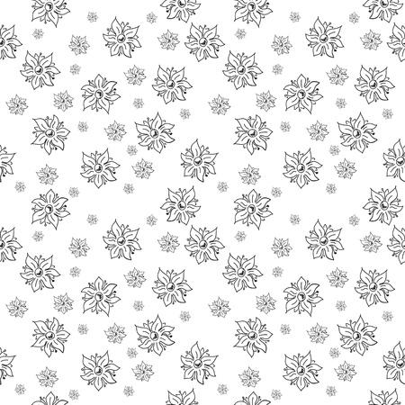 ton: Geleneksel el yapımı halk tekstil tasarımı için kesintisiz siyah ve beyaz çiçek arka plan ve yüksek kalitede baskı Çizim