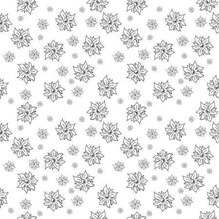craze: traditional handmade folk seamless black and white floral background for textile design,  and high quality print