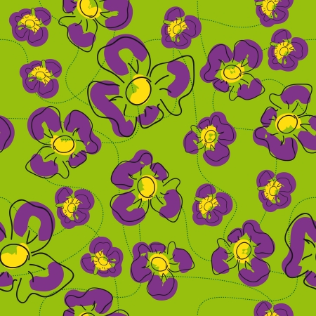 craze: traditional handmade folk seamless floral background with irises for textile design,  and high quality print Illustration