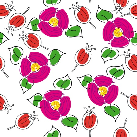 rose hips: artistic handmade seamless floral background with rose hips and canker-blooms for textile design,  and high quality print
