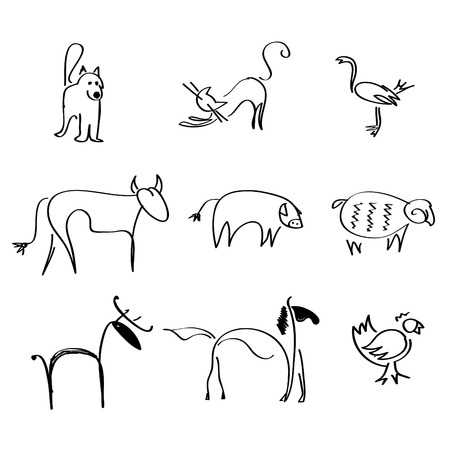nag: some hand drown sketches of pets and farm animals Illustration