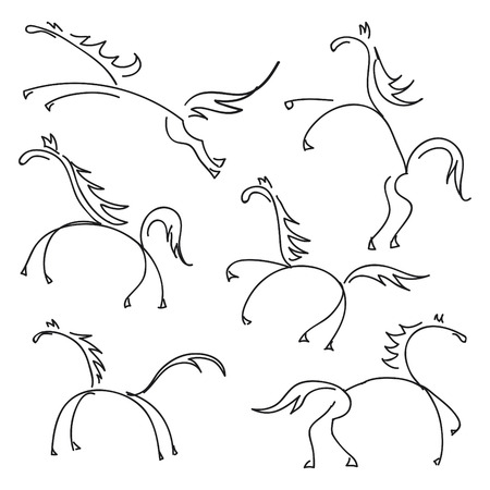 some hand drawn sketches of horses