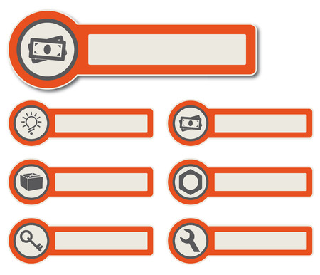 Symbole und Papier Aufkleber mit Instrumenten, Komponenten und Funktionen für hochwertige Print-, Web-Design und Büroarbeit einfach Farbbearbeitung