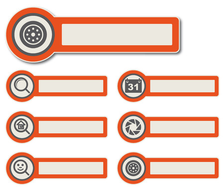 Symbole und Papier Aufkleber mit Instrumenten, Komponenten und Funktionen für hochwertige Print, Web-Design und Büroarbeit einfach Farbbearbeitung