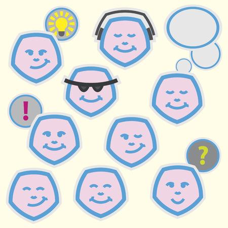 pentagramma musicale: emoticon impostato per il web design, stampa di alta qualit� e altre opere creative