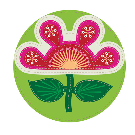 dekorative Patchwork Probe mit abstrakten Blumen für Design, Web-Design und andere kreative Grafiken Illustration