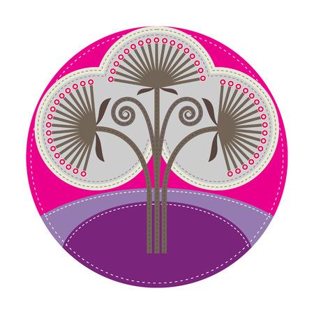 einfachen Patchwork-Runde Plakette mit Distel auf den Vordergrund