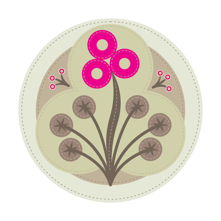 simple patchwork round badge with abstract blowball flower on foreground