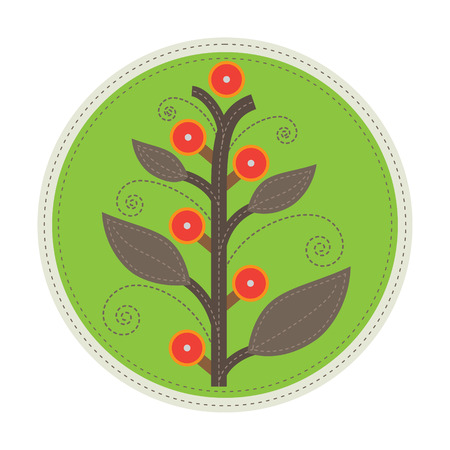 foreground: simple patchwork round badge with abstract fruit tree on foreground Illustration