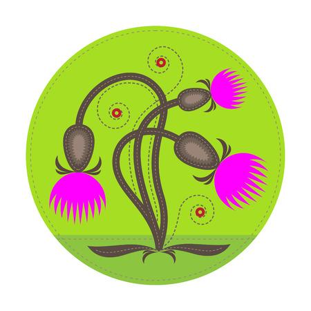 einfachen Patchwork-Runde Plakette mit abstrakten Distelblume auf den Vordergrund