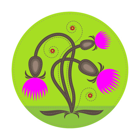 foreground: simple patchwork round badge with abstract thistle flower on foreground