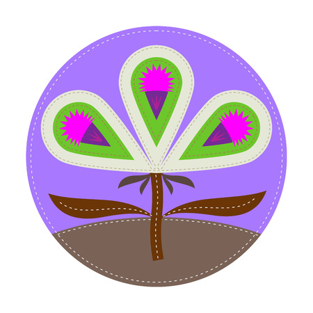 simple patchwork round badge with thistle on foreground
