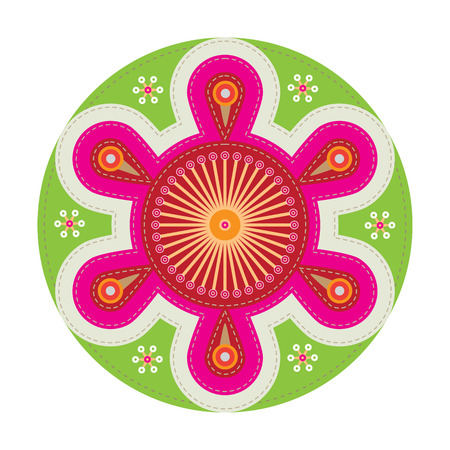 simple patchwork round badge with abstract flower on foreground Illustration
