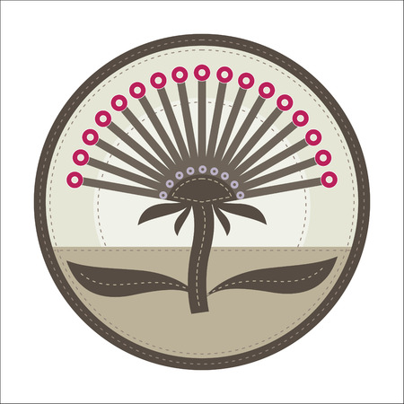 simple patchwork round badge with abstract thistle flower on foreground