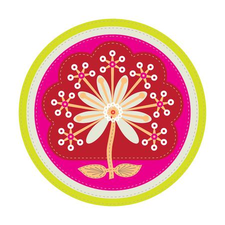einfachen Patchwork-Runde Plakette mit abstrakten Blumen auf den Vordergrund