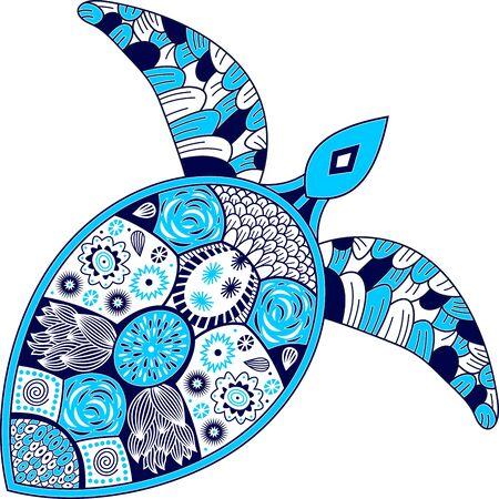 colorful vector turtle design. Çizim