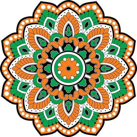 Colorful vector mandala ethnic round symmetrical. Иллюстрация