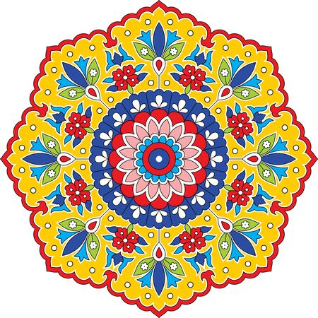 Colorful mandala ethnic round symmetrical. Иллюстрация