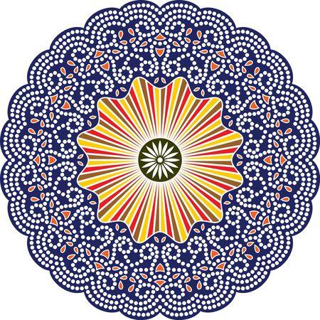Mandala vector dot art, Aboriginal dot painting, retro folk design