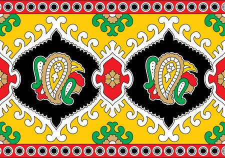 colorful abstract vector floral kalamkari outline border design