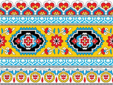colorful abstract floral kalamkari outline border design