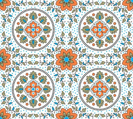 colorful kalamkari outline ornamental pattern design Illusztráció