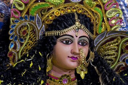 puja: Idol of Goddess Durga during Durga Puja festival in Chennai, Tamil Nadu, India, Asia