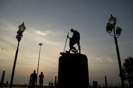 mahatma: Statue of Mahatma Gandhi at Marina Beach in Chennai, Tamil Nadu, India, Asia