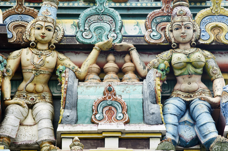 tamil nadu: Intricate carvings on the facade of a Hindu Temple in Chennai, Tamil Nadu, India, Asia