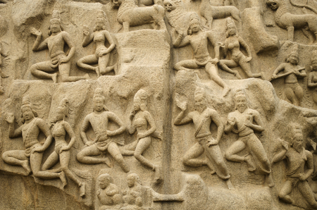 pallava: Arjunas Penance or Descent of the Ganges at Mahabalipuram, Tamil Nadu, India