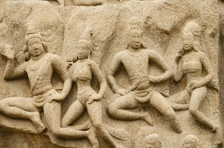 pallava: Arjunas Penance in Mahabalipuram, Tamil Nadu, India, Asia Stock Photo