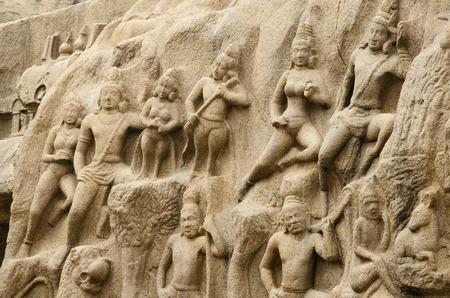 penance: Arjunas Penance in Mahabalipuram, Tamil Nadu, India, Asia Stock Photo