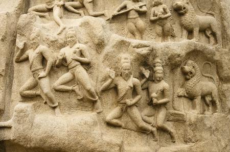 mahabharata: Arjunas Penance in Mahabalipuram, Tamil Nadu, India, Asia Stock Photo