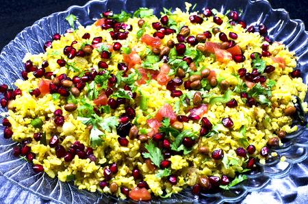 karnataka: Poha, a popular Indian vegetarian dish prepared with flattened rice.