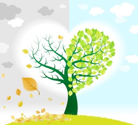 Árbol de la temporada que representa el cambio de hojas verdes y secas