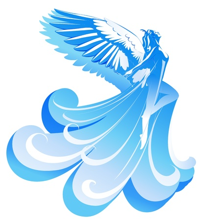 freedom icon: Beautiful woman angel flying to the sky