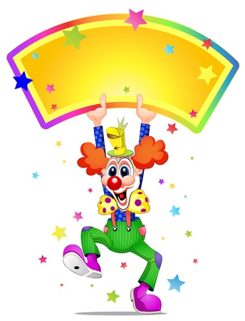 Clown mascot laughing and holding placard Illustration