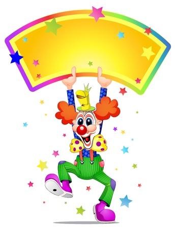 La mascota de payaso risa y la celebración de cartel
